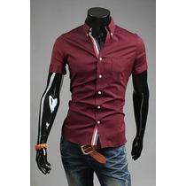 Camisa Social Masculina Slim Fit Manga Curta Pronta Entrega