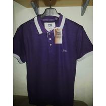 Camisa Polo Masculina Marca Famosa Roxa & Cinza Tm M (tng)