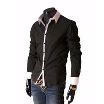 Camisa Social Masculina Luxo Slim Fit Entrega Garantida-004a