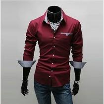 Camisas Sociais Masculinas Blusa Social Slim Fit Camisetas