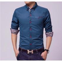 Camisas Sociais Masculinas Meia Mangal Slim Fit