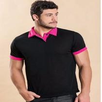 Camisa Polo Masculina Preto Com Pink