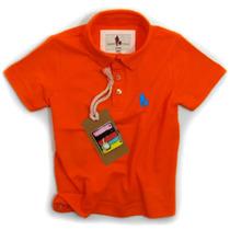 Camisa Polo Infantil, Qualidade Importada Original Orange