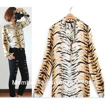 Camisa Tigre - Chiffon - Linha Animal Print - Verão 2014