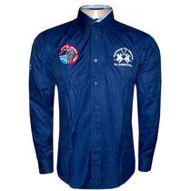 Camisa Social La Martina Azul Marinho Italia