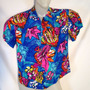 Camisa Hawaii Havaiana Multicolor Peixes E Flores M Cod83