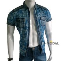 Camisa Masculina Slim Fit Manga Curta Estilo Jeans