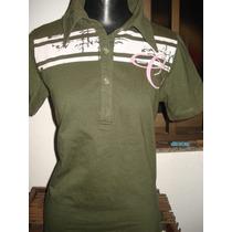 Camisa Polo Feminina Da Carmin C/ Bordados Atras Tam M