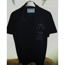 Camisa Polo Calvin Klein Masculina Preta & Azul Listras G/gg