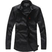 Camisa Social Abercrombie & Fitch Masculina Preta