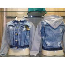 Jaqueta Jeans Com Moletom Casaco Feminina Capuz Frete Gratis