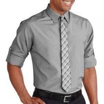 Camisa Manga Longa C/ Gravata Cinza Social 4xl Importada