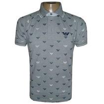 Camisa Armani Gola Polo Camiseta Cinza