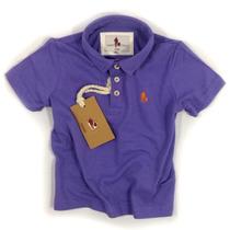 Camisa Polo Infantil, Qualidade Importada Original Roxo