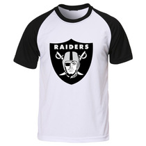 Blusa Camiseta Raglan Oakland Raiders Futebol Americano