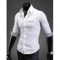 Camisa Social Slim Fit Manga Curta Importada