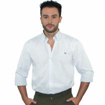 Camisa Masculina Branca Xadrez Manga Longa Algodão Fio 80