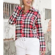 Camisa Feminina Xadrez Vermelha Manga Longa Inverno 2015