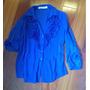 Camisa Feminina G Azul Bic,manga 3/4 Marca Mais Um/um Mais
