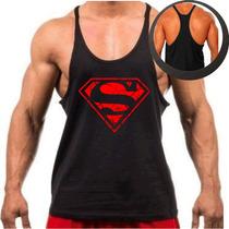 Camiseta Regata Super Cavada P/ Musculação Superman