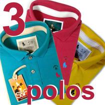 Kit 3 Camisas Polos Masculinas Original Qualidade Importada