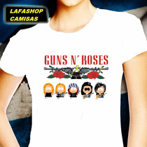 Camisa Guns Roses Camiseta South Park Baby Look Banda Mulher
