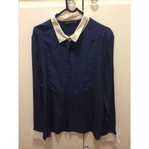 Camisa De Seda Zara Azul Marinho