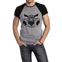 Camisa Camiseta Bombeiro 13 Militar Cinza/preto- Estampada