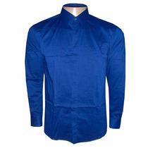 Camisa Social Calvin Klein Azul Escuro Lisa