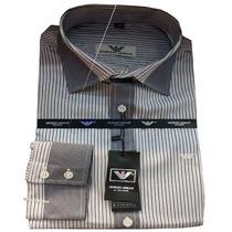 Camisa Social Masculina Armani Listras Finas - Chumbo