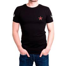 Camisa Bordada Preta Exército Russo - Tática Militar
