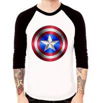 Camisa Blusa Raglan 3/4 Capitão América