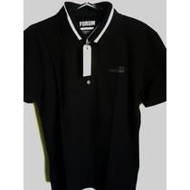 Camisa Polo Fórum Masculina Preta Nova Coleção - Linda Tm G