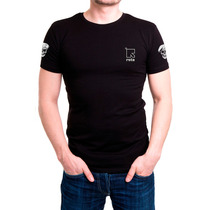 Camisa Camiseta Preta Bordada - Rota