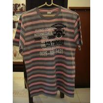 Blusa Camisa Malha Listrada Rosa Cinza Tam. G T-shirt