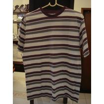 Blusa Camisa Malha Listrada Branca Lilas Tam. G T-shirt