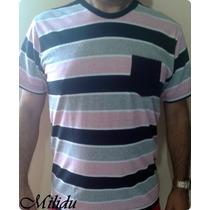 Camisas Kit Com 10 Peças, 100% Algodão Listrada