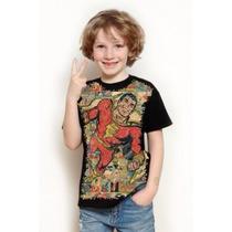 Camisa Capitão Shazam Infantil Adão Negro Masculina Criança