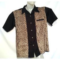 Camisa Rockabilly Retro Oncinha Leopardo Imp. Usa G C98