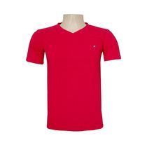 Camiseta Básica Masculina Tommy Hilfiger Vermelha Gola V