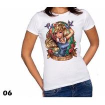 Blusas Camisas Femininas Babylook Princesas Disney Tatuadas