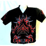 Belíssima Camisa Preta Estampa Tribal Pinstripe Dragão