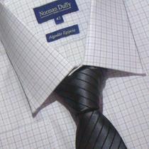 Camisa Social Algodão Egípcio Fio 80 Xadrez Estreito 01 1030