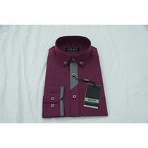 Camisa Social Masculina Hugo Boss , Cor Púrpura