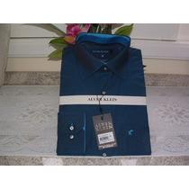 Camisa Social Masculina M. Longa Tam 4 Cor Azul Esc 100% Alg