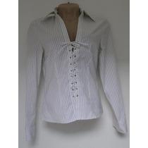 Camisa Social Feminina - Branca Listrada - Gregory (38)