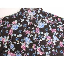 Camisa Feminina Country Floral Florida Manga Longa Algodão