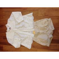Camisa De Algodao Bordada Com Short Zara Pouco Usado