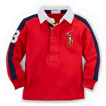 Camisa Polo Infantil Manga Longa Ralph Lauren