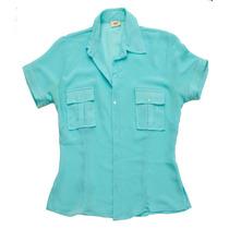 Camisa Carmila Chiffon Transparente Crepe Vintage Romantica